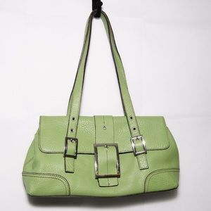 Green leather purse with silver buckle detail